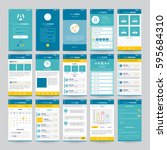 set of mobile screens with ui... | Shutterstock .eps vector #595684310