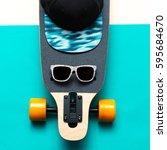 skateboard  sunglasses  cap ... | Shutterstock . vector #595684670