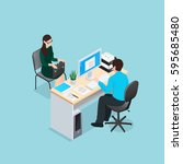 job interview scene with... | Shutterstock .eps vector #595685480