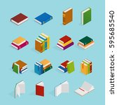 set of isometric icons with... | Shutterstock .eps vector #595685540