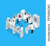 laboratory isometric... | Shutterstock .eps vector #595686260