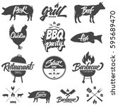 barbecue and grill restaurant... | Shutterstock .eps vector #595689470