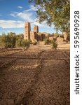 Small photo of Departed Kasbah Morocco. The ruins of one of Morocco's fortress-palaces, Kasbah or ksar, situated in the arid Atlas Mountains near Ait Benhaddou.