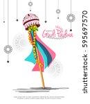 vector illustration of gudi... | Shutterstock .eps vector #595697570