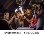 friends are celebrating... | Shutterstock . vector #595702208