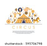 circus collection with carnival ... | Shutterstock .eps vector #595706798