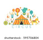 circus collection with carnival ... | Shutterstock .eps vector #595706804