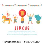 circus collection with carnival ... | Shutterstock .eps vector #595707680