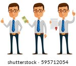 funny businessman holding a... | Shutterstock .eps vector #595712054