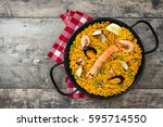 traditional spanish seafood... | Shutterstock . vector #595714550