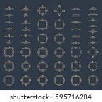 huge rosette wicker border... | Shutterstock .eps vector #595716284