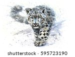 Snow Leopard Animals Watercolo...