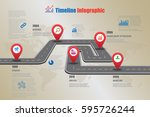 design template  road map... | Shutterstock .eps vector #595726244