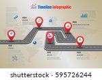 design template  road map... | Shutterstock .eps vector #595726244