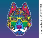 vector face of dog with... | Shutterstock .eps vector #595727834