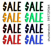 coloured sale icons set with... | Shutterstock .eps vector #595729364