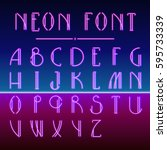 neon linear font with 80s new... | Shutterstock .eps vector #595733339
