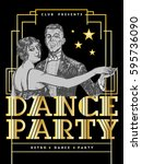 retro dance party poster... | Shutterstock .eps vector #595736090