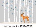 Deer In Forest Vector Cartoon...