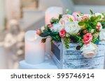 bouquet of flowers  wedding... | Shutterstock . vector #595746914
