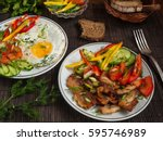 fried bacon  eggs and...   Shutterstock . vector #595746989