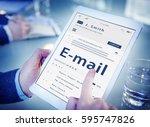 online message communication... | Shutterstock . vector #595747826
