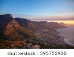 table mountain during sunset in ... | Shutterstock . vector #595752920