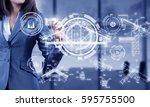 businesswoman draw diagrams .... | Shutterstock . vector #595755500