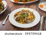 a plate of traditional syrian... | Shutterstock . vector #595759418