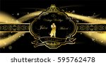 wedding royal frame on black... | Shutterstock .eps vector #595762478