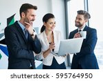 group of happy business people... | Shutterstock . vector #595764950