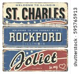 vintage tin sign collection... | Shutterstock .eps vector #595765913
