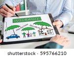 businessman showing insurance... | Shutterstock . vector #595766210