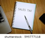 business concept. notebook with ... | Shutterstock . vector #595777118