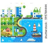 village and landscape flat... | Shutterstock .eps vector #595784444