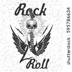 rock music graphic design with... | Shutterstock .eps vector #595786634