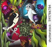 marine life.vector illustration ... | Shutterstock .eps vector #595786784