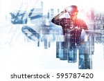 man with virtual headset .... | Shutterstock . vector #595787420