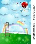 surreal landscape with ladder...   Shutterstock .eps vector #595792364