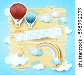 fantasy panel with hot air... | Shutterstock .eps vector #595792379