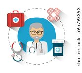 hospital doctor with his tools...   Shutterstock .eps vector #595793393