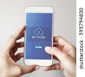 cloud network data backup... | Shutterstock . vector #595794830