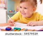 cute little girl draw with felt ... | Shutterstock . vector #59579539