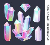 magic fairytale crystals... | Shutterstock .eps vector #595797593
