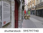 """Small photo of GRENOBLE, FRANCE, February 26, 2017 : Birth house of Stendhal in Grenoble. Stendhal, was a 19th century French writer known for the novels """"The Red and the Black"""" and """"Charterhouse of Parma""""."""