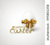 happy easter lettering with... | Shutterstock .eps vector #595801358