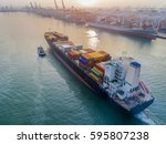 container vessel commercial... | Shutterstock . vector #595807238