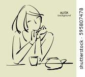 art sketching vector of sitting ... | Shutterstock .eps vector #595807478