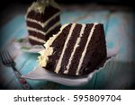 sliced chocolate moist cake...