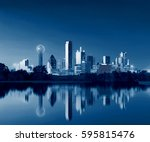dallas skyline reflection at... | Shutterstock . vector #595815476